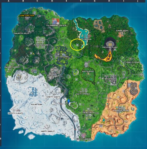 Fortnite: Fortbyte 38 - Accessible with the Vendetta outfit at the nothern most Sky Platform location