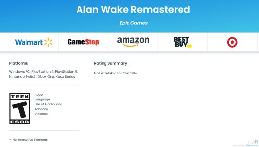 Alan Wake Remastered Receives ESRB Rating For Switch
