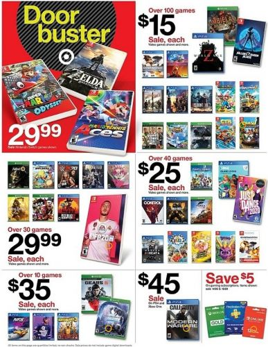 Target Black Friday offers include over 100 games for $15 each
