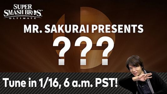 Masahiro Sakurai will reveal Smash Ultimate's Fighter 5 in a 35-minute presentation on 1/16/20
