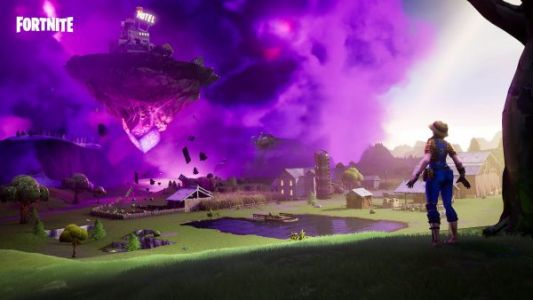 Fortnite: land on top of a floating island and a meteor
