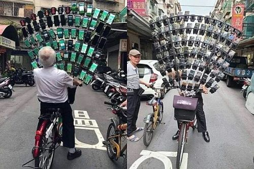 Taiwan's 70+-year-old Pokemon GO fan is still going strong with his insane bike rig