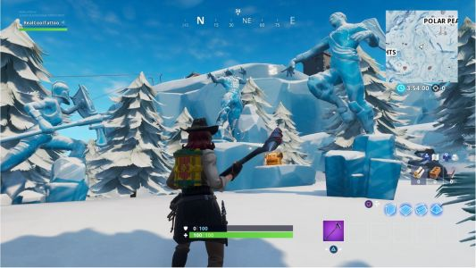 Fortnite: Dance between three Ice Sculptures, three Dinosaurs, and four hotsprings